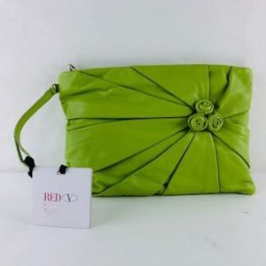 nwt auth VALENTINO RED chartreuse green leather